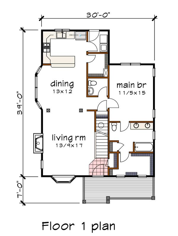 Bungalow Floor Plan - Main Floor Plan #79-314