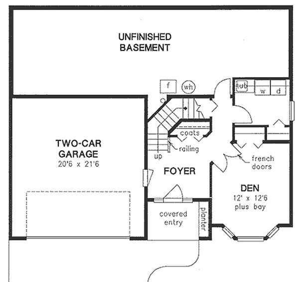 Traditional Floor Plan - Lower Floor Plan Plan #18-1018