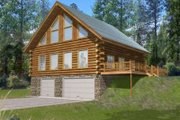 Log Style House Plan - 3 Beds 2.5 Baths 2368 Sq/Ft Plan #117-486 Exterior - Front Elevation