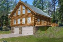 Dream House Plan - Log Exterior - Front Elevation Plan #117-486