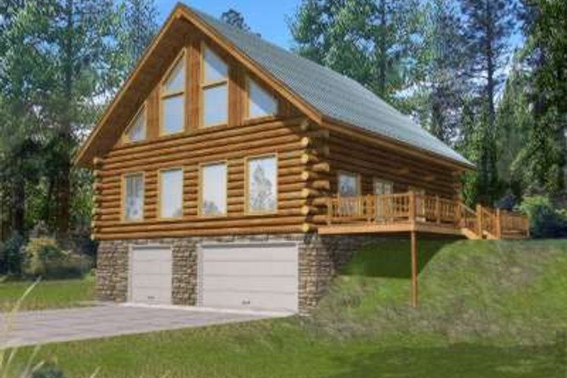 Log Exterior - Front Elevation Plan #117-486