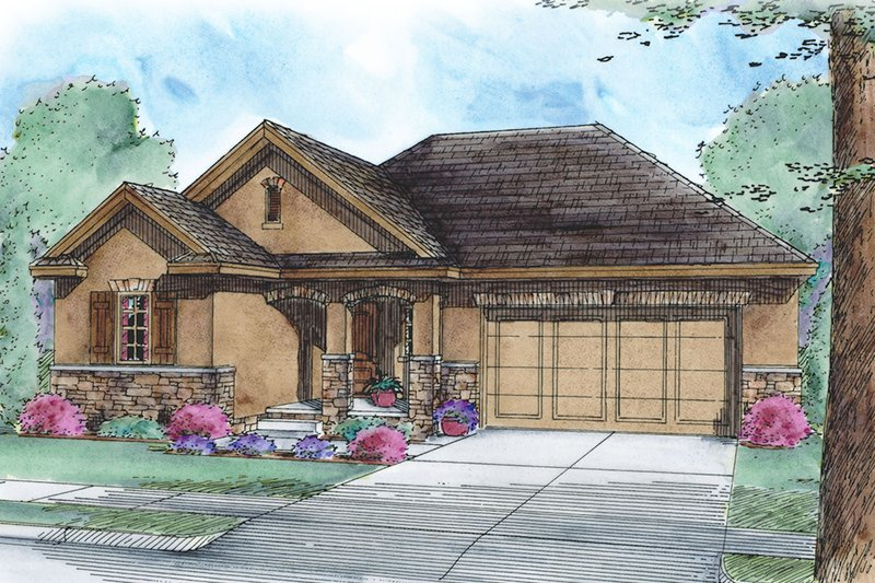 Ranch Style House Plan - 3 Beds 2 Baths 1710 Sq/Ft Plan #20-2292 Exterior - Front Elevation