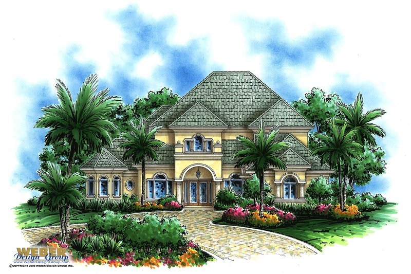 Mediterranean Style House Plan - 5 Beds 5 Baths 6154 Sq/Ft Plan #27-490 Exterior - Front Elevation