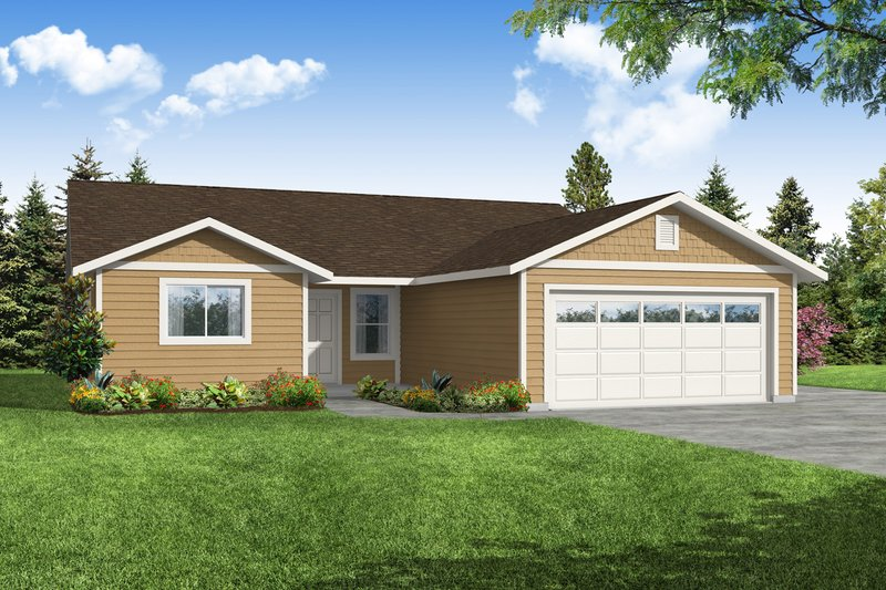 Ranch Style House Plan - 4 Beds 2 Baths 1599 Sq/Ft Plan #124-1216 Exterior - Front Elevation