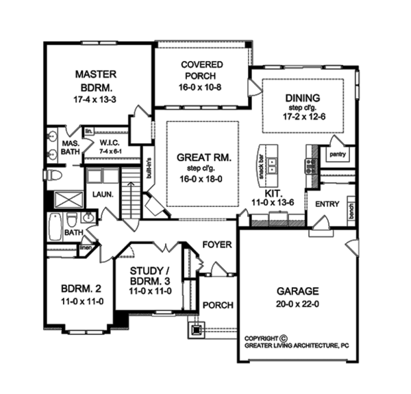 Ranch Floor Plan - Other Floor Plan Plan #1010-102