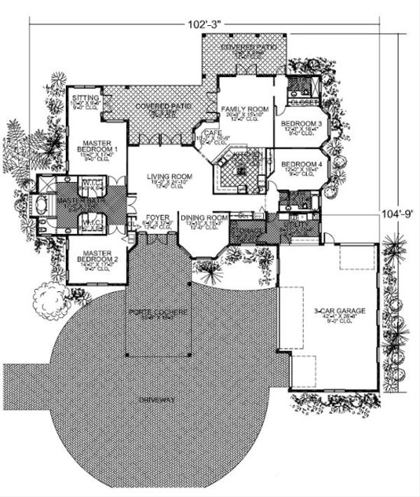 Mediterranean Style House Plan - 4 Beds 3 Baths 3568 Sq/Ft Plan #420-218 Floor Plan - Main Floor Plan