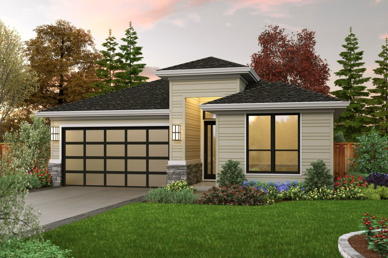 Contemporary Style House Plan - 3 Beds 2 Baths 1922 Sq/Ft Plan #48-1030 Exterior - Front Elevation
