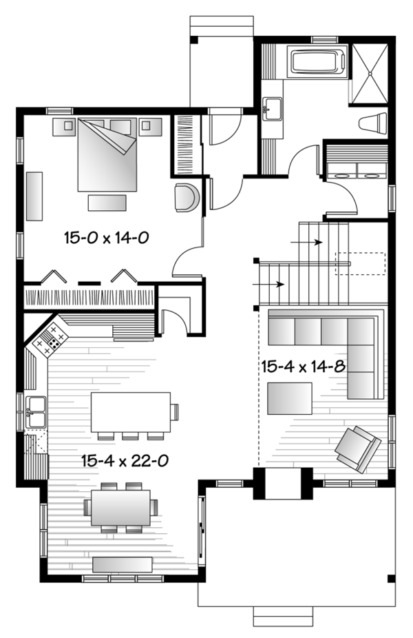 European Floor Plan - Main Floor Plan Plan #23-2494