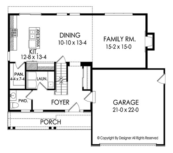 Colonial Floor Plan - Main Floor Plan Plan #1010-182