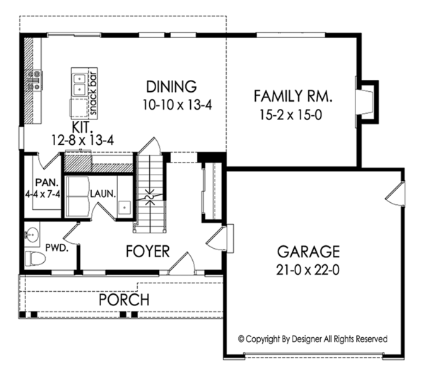 Architectural House Design - Colonial Floor Plan - Main Floor Plan #1010-182