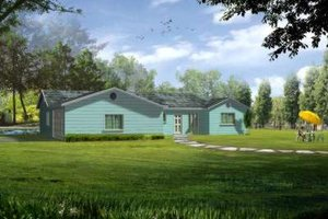 Ranch Exterior - Front Elevation Plan #1-386