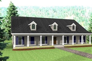 Country Exterior - Front Elevation Plan #44-129