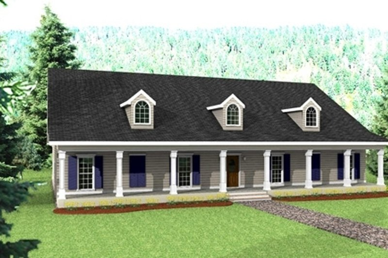 Country Exterior - Front Elevation Plan #44-129 - Houseplans.com
