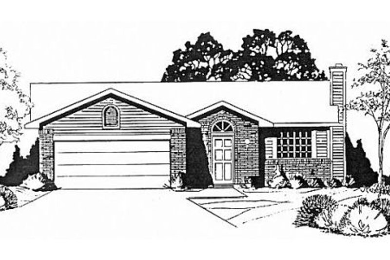 Traditional Style House Plan - 3 Beds 2 Baths 1024 Sq/Ft Plan #58-102 Exterior - Front Elevation