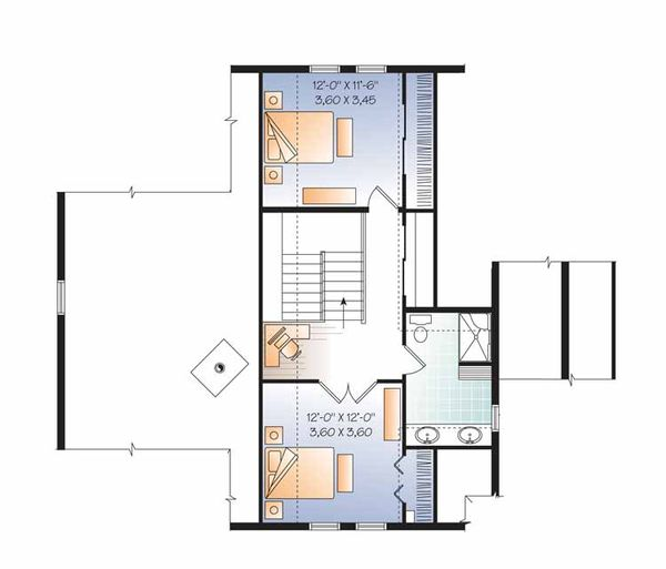 European Floor Plan - Upper Floor Plan Plan #23-2484