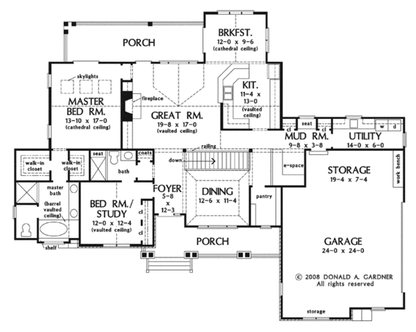 Craftsman Floor Plan - Main Floor Plan Plan #929-919