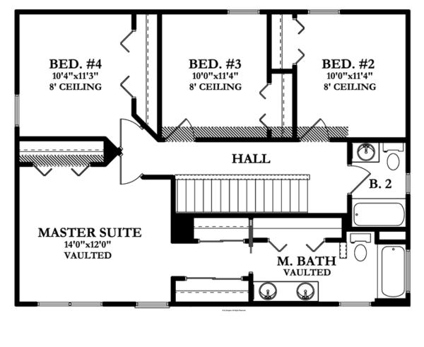Colonial Floor Plan - Upper Floor Plan Plan #1058-23