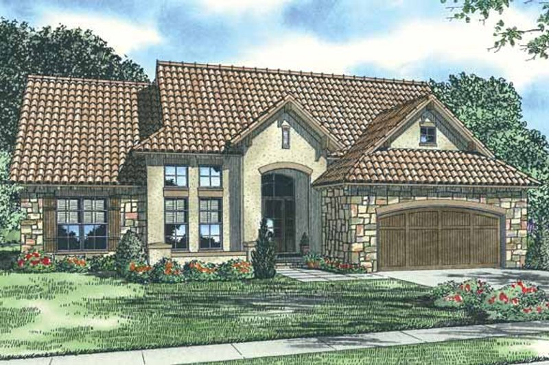 Mediterranean Exterior - Front Elevation Plan #17-2923