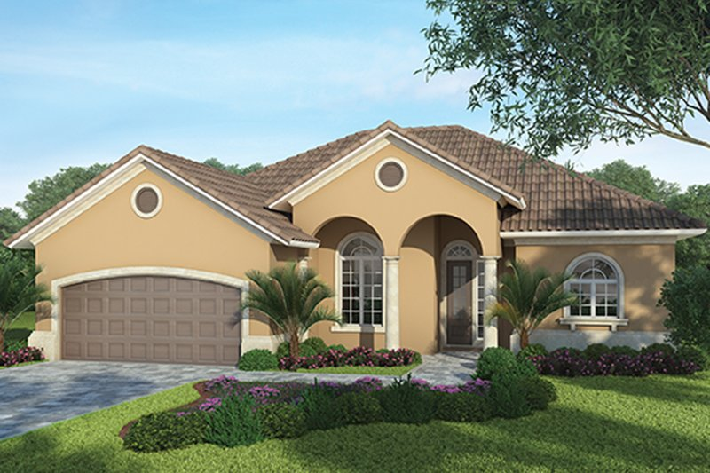 Mediterranean Exterior - Front Elevation Plan #938-33