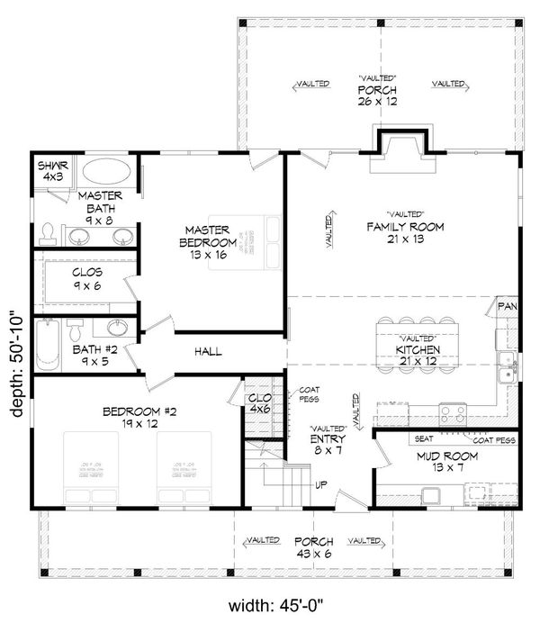 Home Plan - Cabin Floor Plan - Main Floor Plan #932-123