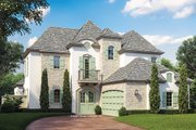 European Style House Plan - 4 Beds 5 Baths 3103 Sq/Ft Plan #930-445 Exterior - Front Elevation