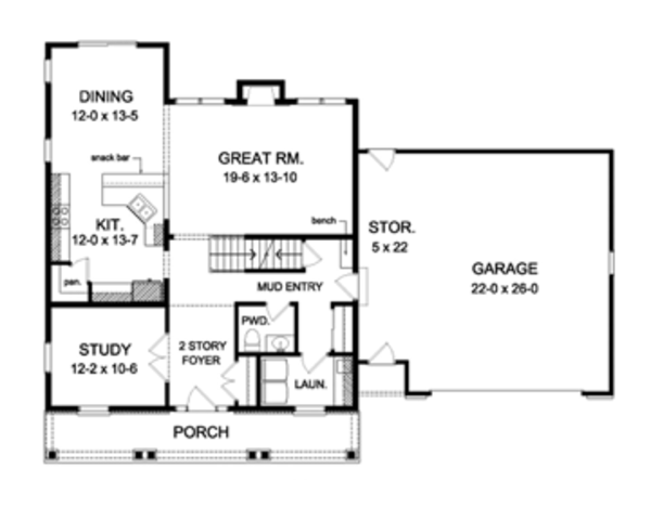 House Design - Colonial Floor Plan - Main Floor Plan #1010-55