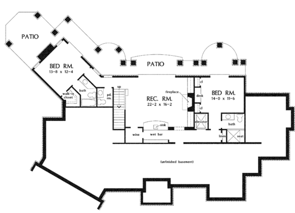 European Floor Plan - Lower Floor Plan Plan #929-912