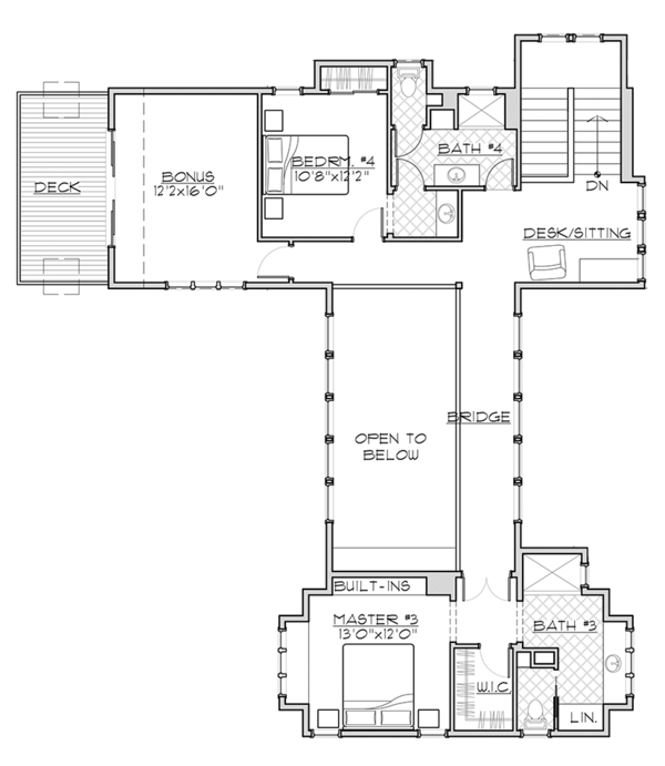 Craftsman Floor Plan - Upper Floor Plan Plan #892-19