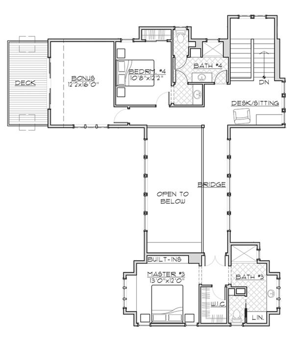 Craftsman Floor Plan - Upper Floor Plan Plan #892-19
