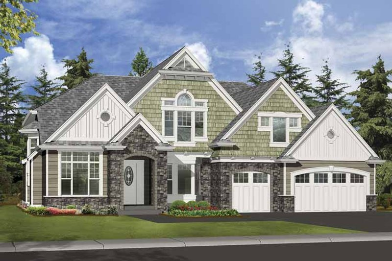 Craftsman Exterior - Front Elevation Plan #132-500 - Houseplans.com