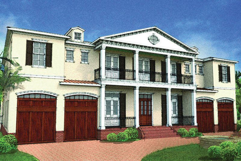 Colonial Style House Plan - 6 Beds 5.5 Baths 5076 Sq/Ft Plan #1058-82 Exterior - Front Elevation