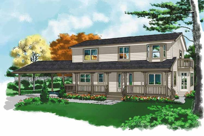 Country Exterior - Front Elevation Plan #118-153 - Houseplans.com
