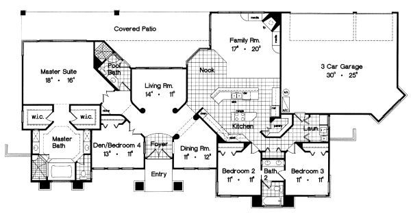European Floor Plan - Main Floor Plan Plan #417-292