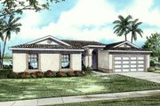 Mediterranean Style House Plan - 4 Beds 2 Baths 1803 Sq/Ft Plan #420-115 Exterior - Front Elevation