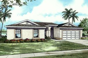 Mediterranean Exterior - Front Elevation Plan #420-115