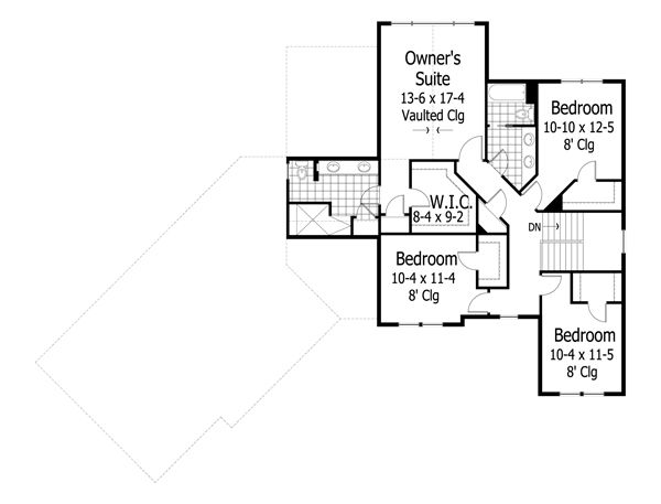 Craftsman Floor Plan - Upper Floor Plan Plan #51-430