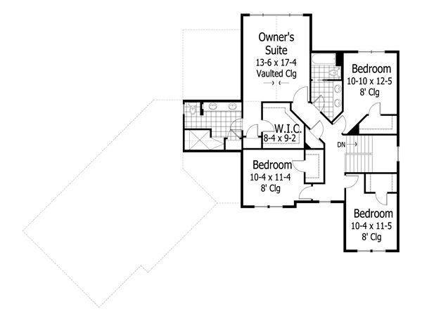 Craftsman Floor Plan - Upper Floor Plan Plan #51-430