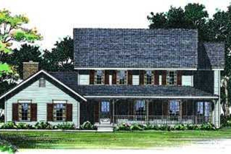 Traditional Exterior - Front Elevation Plan #72-156 - Houseplans.com