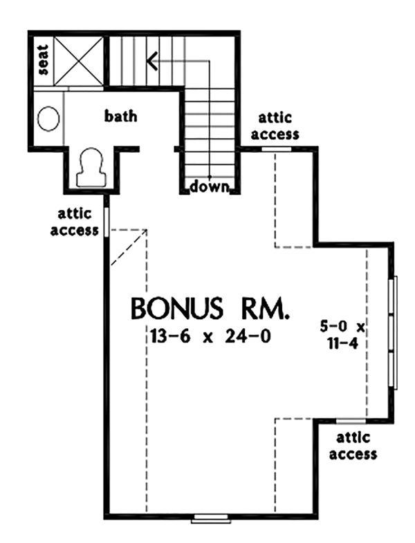 Architectural House Design - Ranch Floor Plan - Upper Floor Plan #929-1089