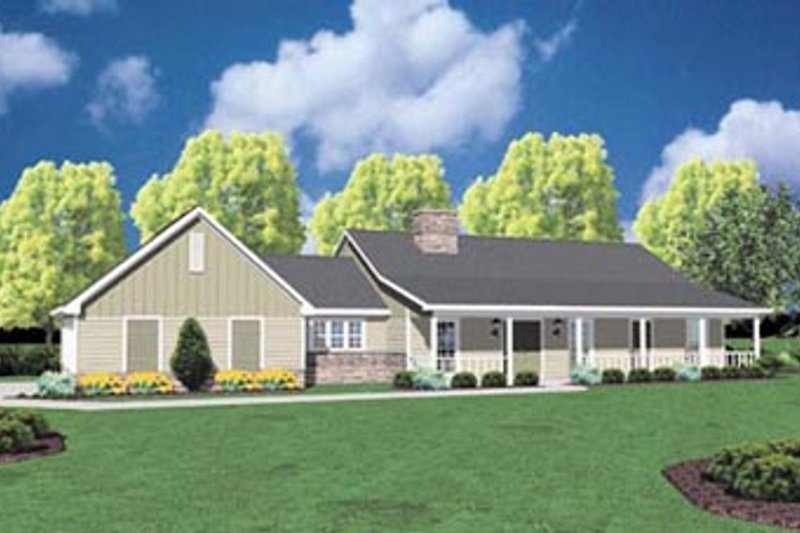 Ranch Style House Plan - 3 Beds 2 Baths 1800 Sq/Ft Plan #36-156 Exterior - Front Elevation