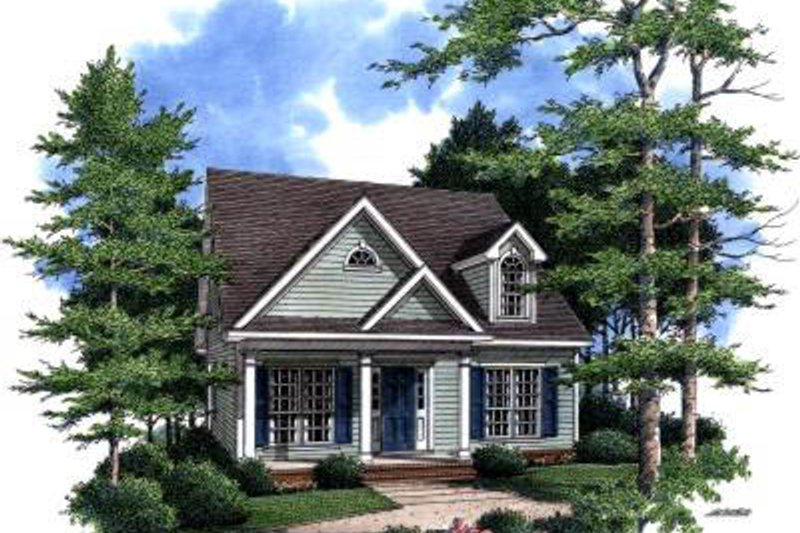 Cottage Exterior - Front Elevation Plan #37-164