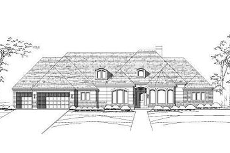 European Style House Plan - 4 Beds 3.5 Baths 3710 Sq/Ft Plan #411-749 Exterior - Front Elevation