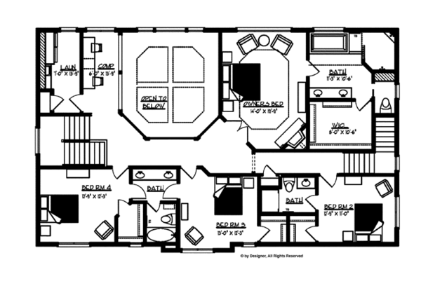 Traditional Floor Plan - Upper Floor Plan Plan #320-990