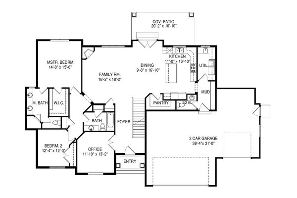Ranch Style House Plan - 6 Beds 4.5 Baths 4438 Sq/Ft Plan #920-97 Floor Plan - Main Floor Plan
