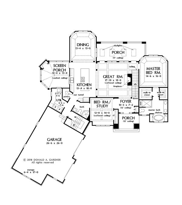 European Floor Plan - Main Floor Plan Plan #929-1065