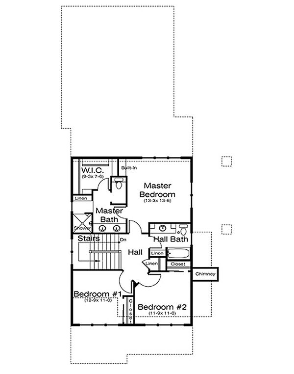 Architectural House Design - Prairie Floor Plan - Upper Floor Plan #434-15