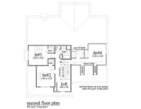 Traditional Floor Plan - Upper Floor Plan #459-4