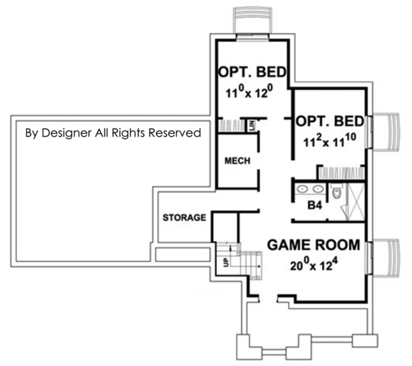 Colonial Floor Plan - Lower Floor Plan Plan #20-2248