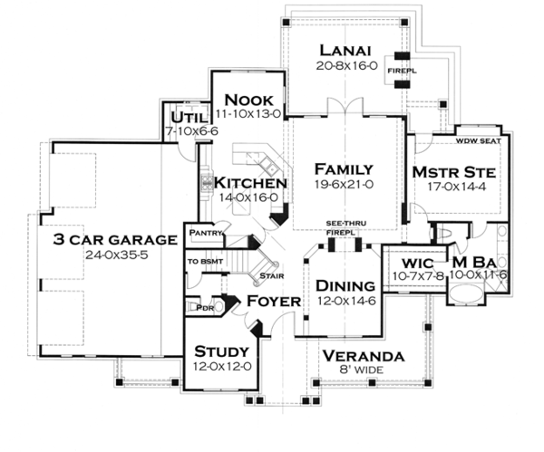 Craftsman Floor Plan - Main Floor Plan Plan #120-248