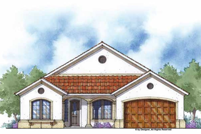 Mediterranean Style House Plan - 3 Beds 2.5 Baths 2287 Sq/Ft Plan #938-20 Exterior - Front Elevation